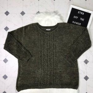 NWT Sonoma green crew neck cable knit sweater XL